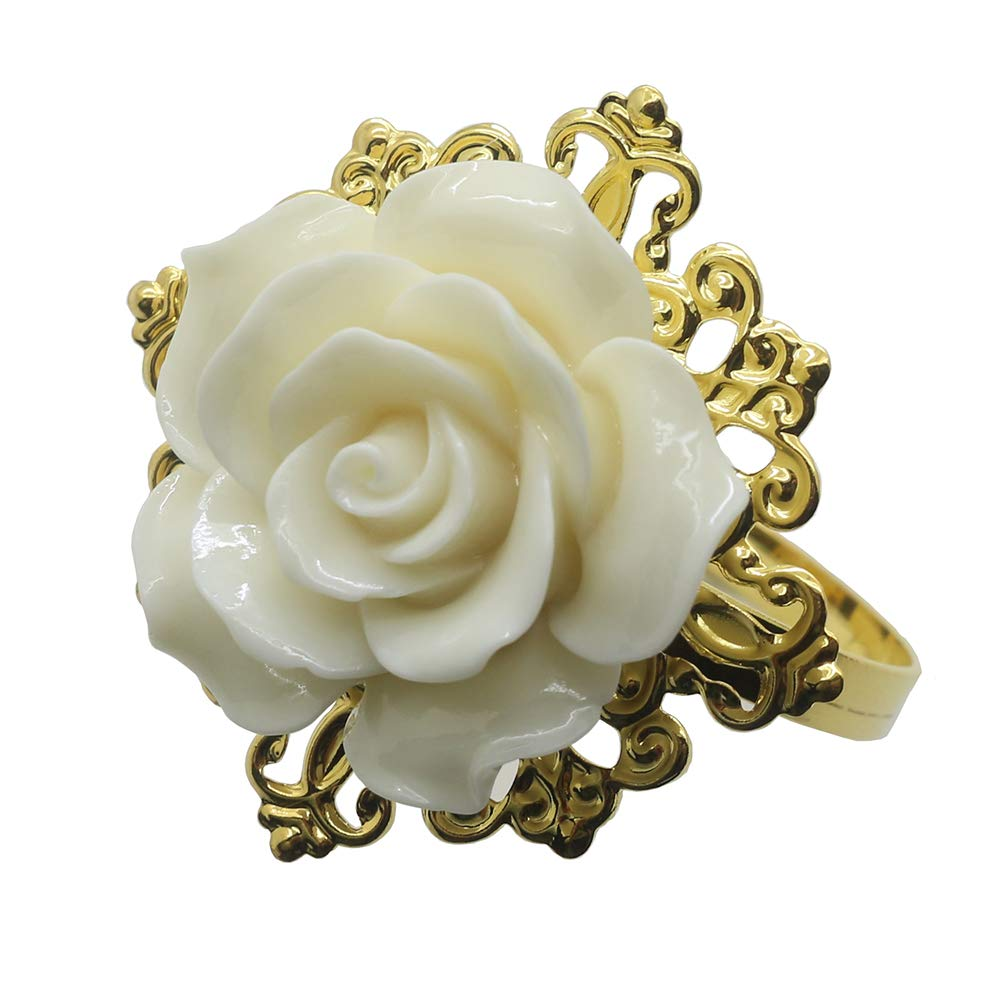 Leader of sales 10pcs/Lot resin lvory pearl color Roses napkin rings gold napkin rings for Romantic Wedding party table decoration