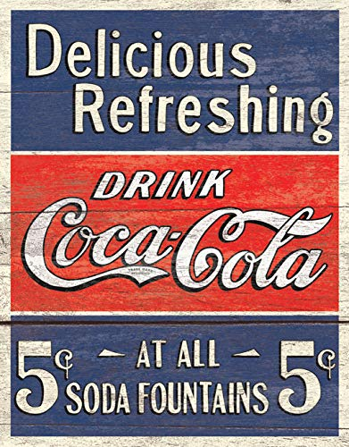 Desperate Enterprises Coca-Cola - Delicious 5 Cents Tin Sign, 12.5