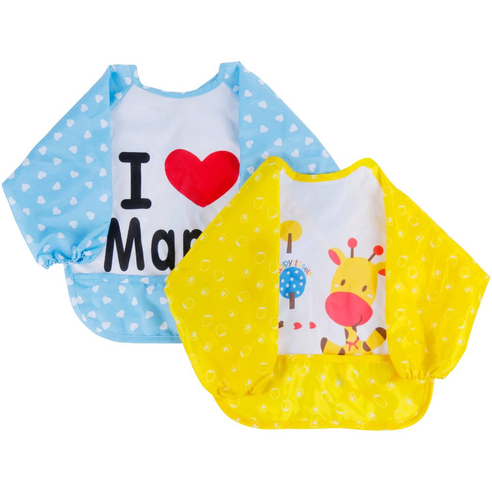 Lictin Bibs with Sleeves, Set of 2 Unisex Baby Waterproof Long Sleeved Bibs for 6-Month Infants to 3-Year-Old Toddlers (Blue+ Yellow)