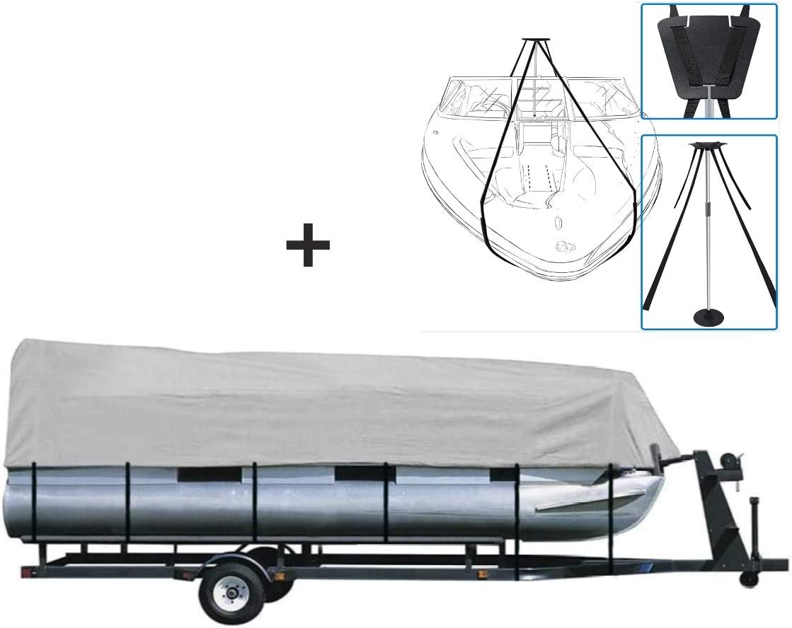 iCOVER Trailerable Pontoon Boat Cover with Support Pole System, Fits 17 to 20ft Long & Beam Width up to 102in Pontoon Boat with Storage Bag, Heavy-Duty Waterproof Polyester Cover