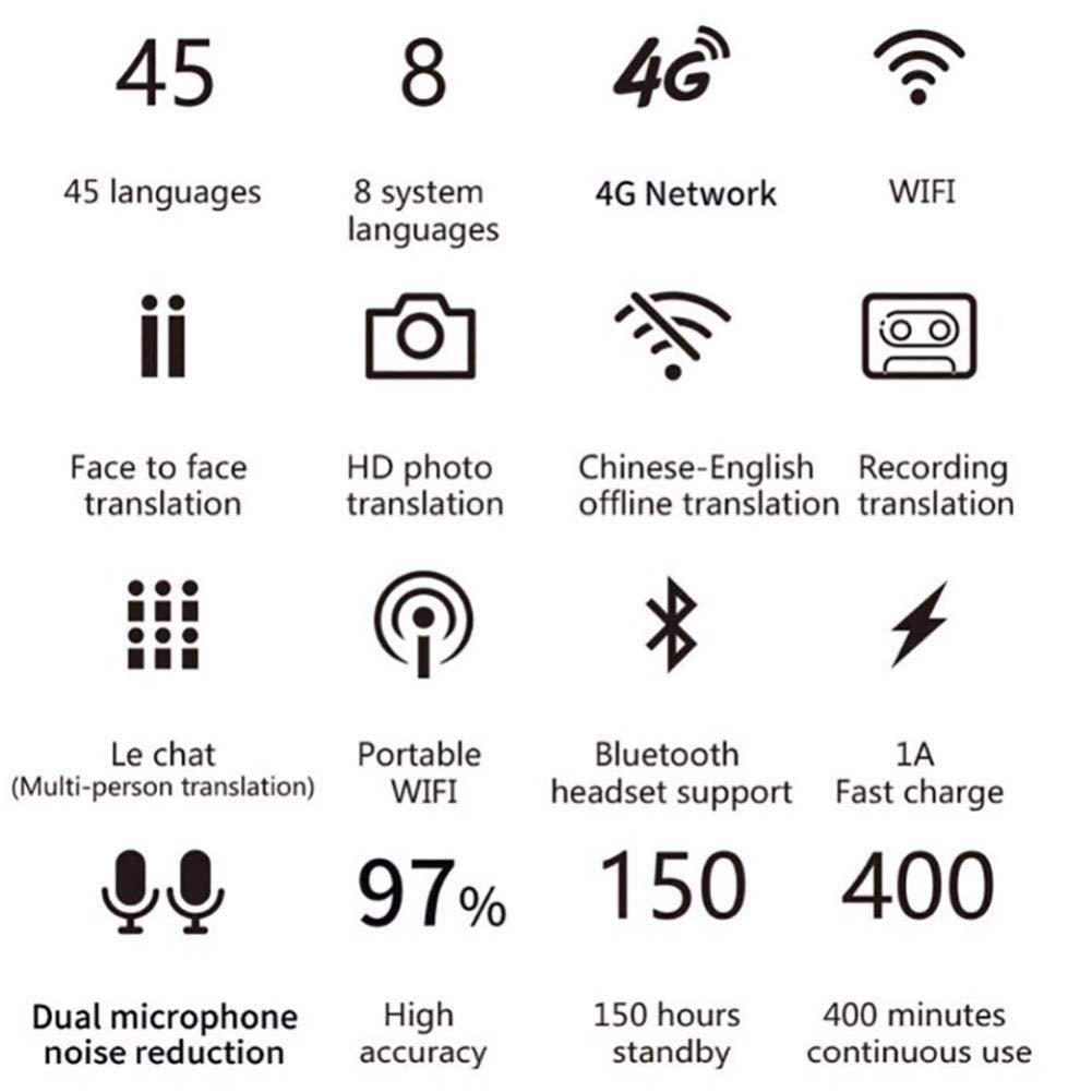 MLMHLMR /Übersetzungsausr/üstung 2,8-Zoll-Touchscreen-Hochaufl/ösungs-Sprach/übersetzung Smart Device Translator Portable Translation Support 45 Sprachen /Übersetzer