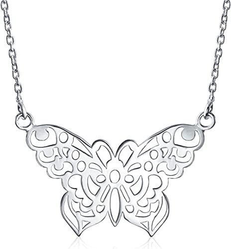 Mamma Mia Silver Antique Butterfly Pendant Yong Donna/'s Big Butterfly Necklace