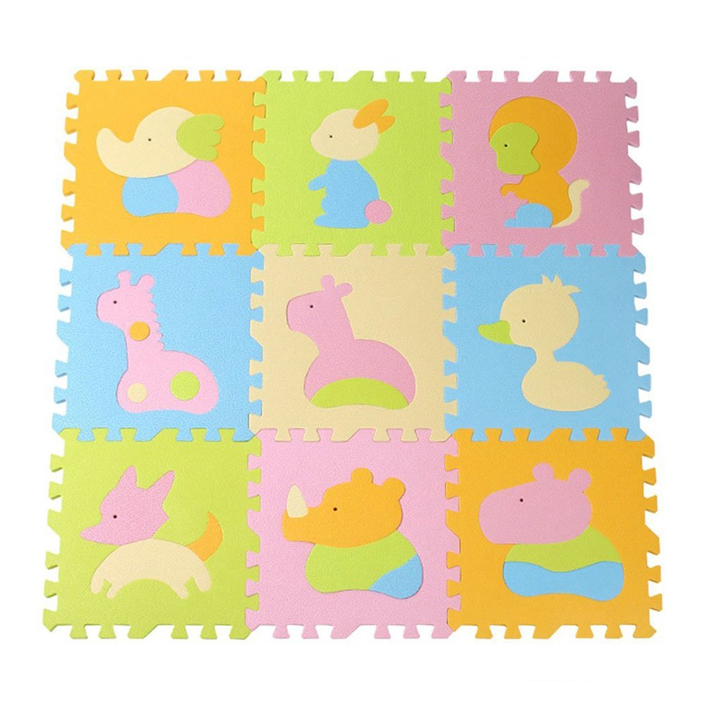 NUOLUX Animal Play Mats Floor Puzzle Crawling Play Game Mat for Baby Kids Children Toddlers (Light Color 01)
