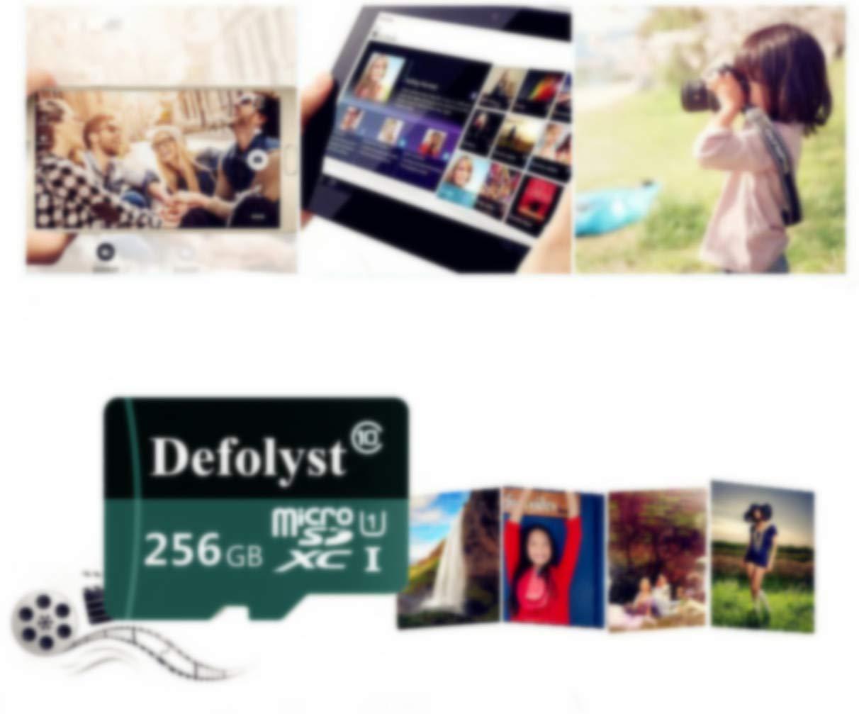 Clase 10, microSDXC, 256 GB, Incluye Adaptador Defolyst SH79-JP Tarjeta Micro SD de 256 GB