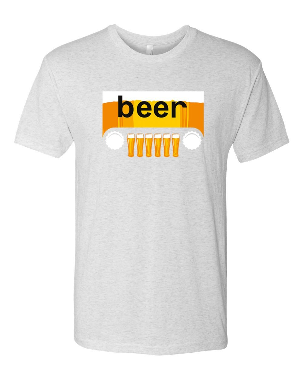 Beer Jeep Funny Parody   Pint Glasses Bottle Caps   Mens Drinking Premium Tri Blend T-Shirt, Heather White, Small