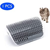 Queseen Cat Self Groomer Brush with Catnip-Wall Corner Mounted Massage Grooming Comb-Helps Prevent Hairballs and Controls Shedding-Safe&Comfortable (Gray)