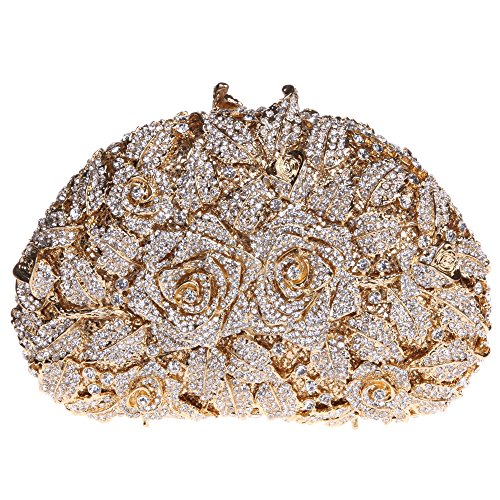 Fawziya Rhinestone Rose Clutch Purse For Party Handbags For Women-Gold