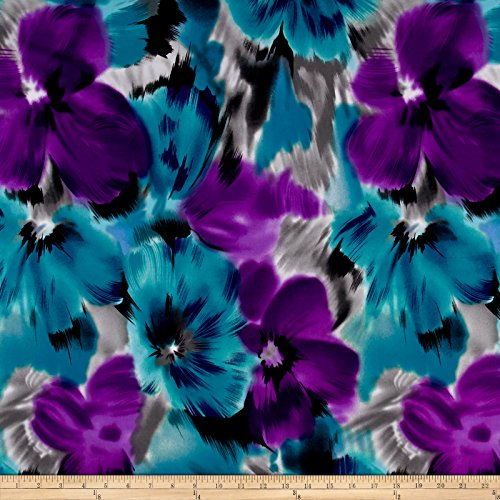 Telio Brazil Stretch ITY Knit Floral Teal/Purple Fabric By The (Floral Stretch Jersey)