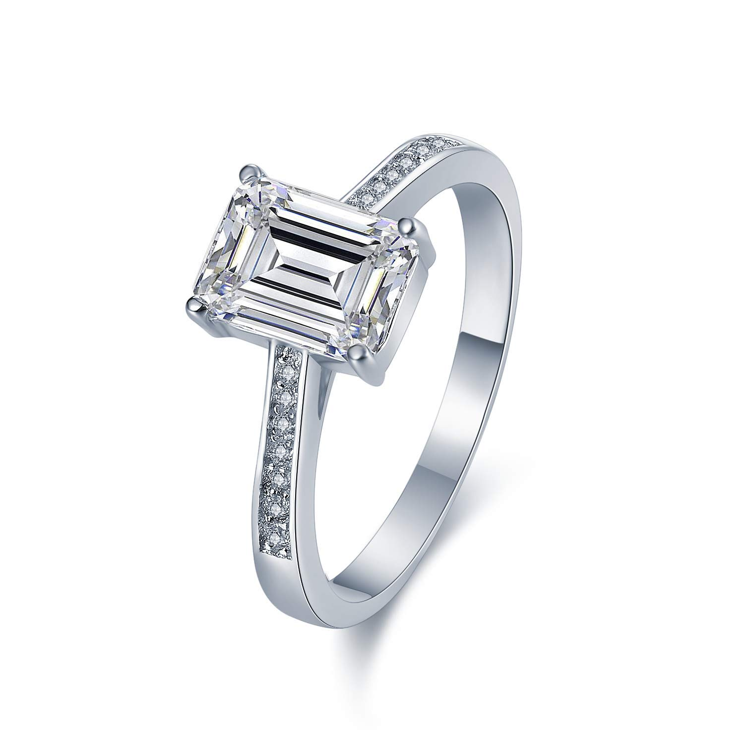 Sreema London Celeb Style Micro-Pave Set 925 Sterling Silver Ring. Vintage Look Emerald Cut Wedding Engagement Anniversary Band Ring with AAAAA Cubic Zirconia (7.5)