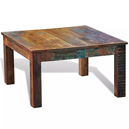 Amazon.com: Tidyard Square Vintage Coffee Table, Antique Handmade End Side  Table Living Room Furniture Reclaimed Wood: Kitchen U0026 Dining
