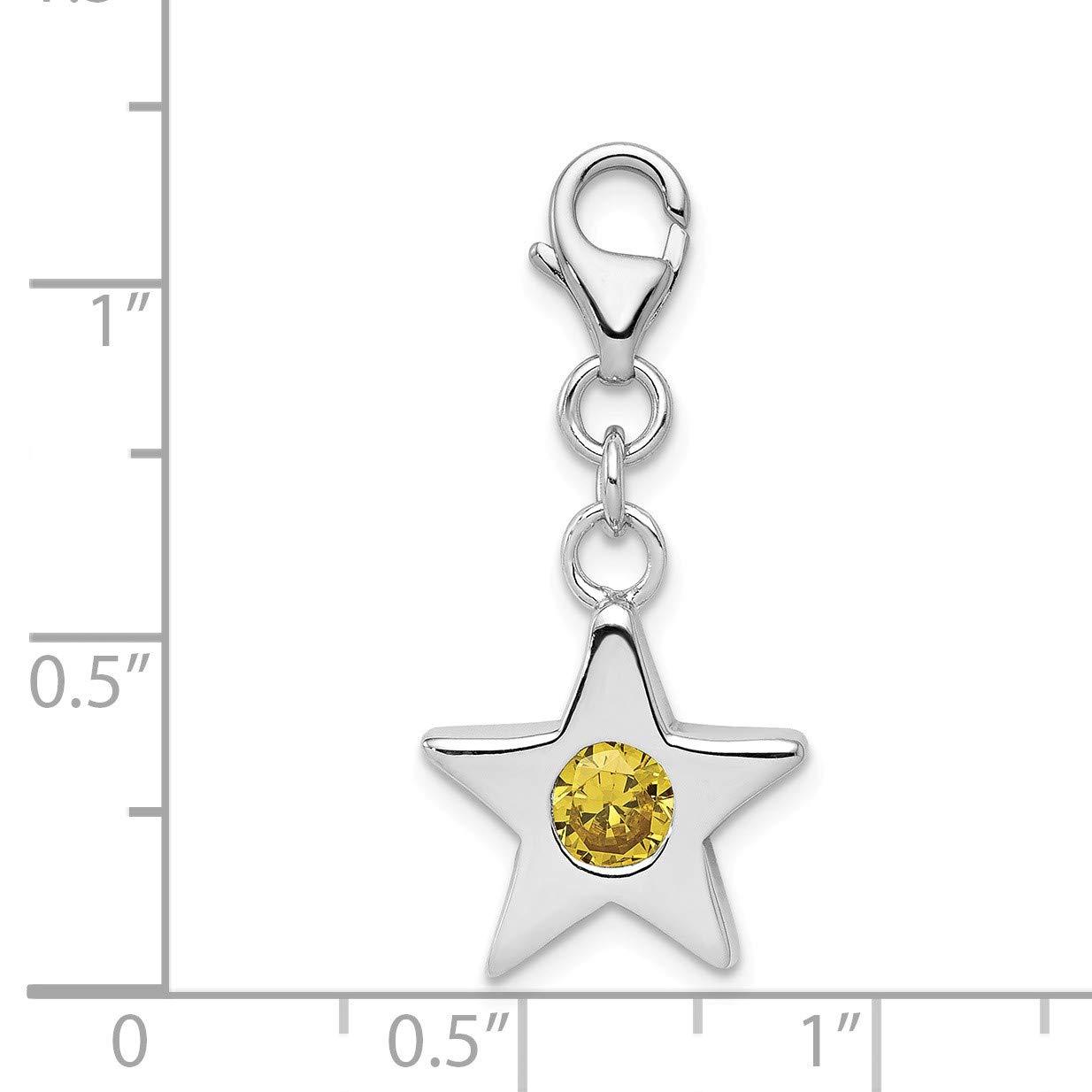Sterling Silver November CZ Birthstone 13mm Star Clip-on Charm