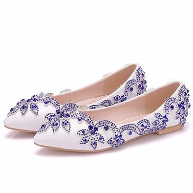 Damenschuhe Strass Perlen Quaste High Heels Feine mit Spitzen Flachen Mund Dünne Schuhe, 35, Blau LEIT