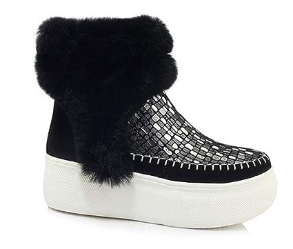 146f310507fcf Amazon.com: HRN Women's Winter Snow Boots Scrub Leather Round Fleece ...
