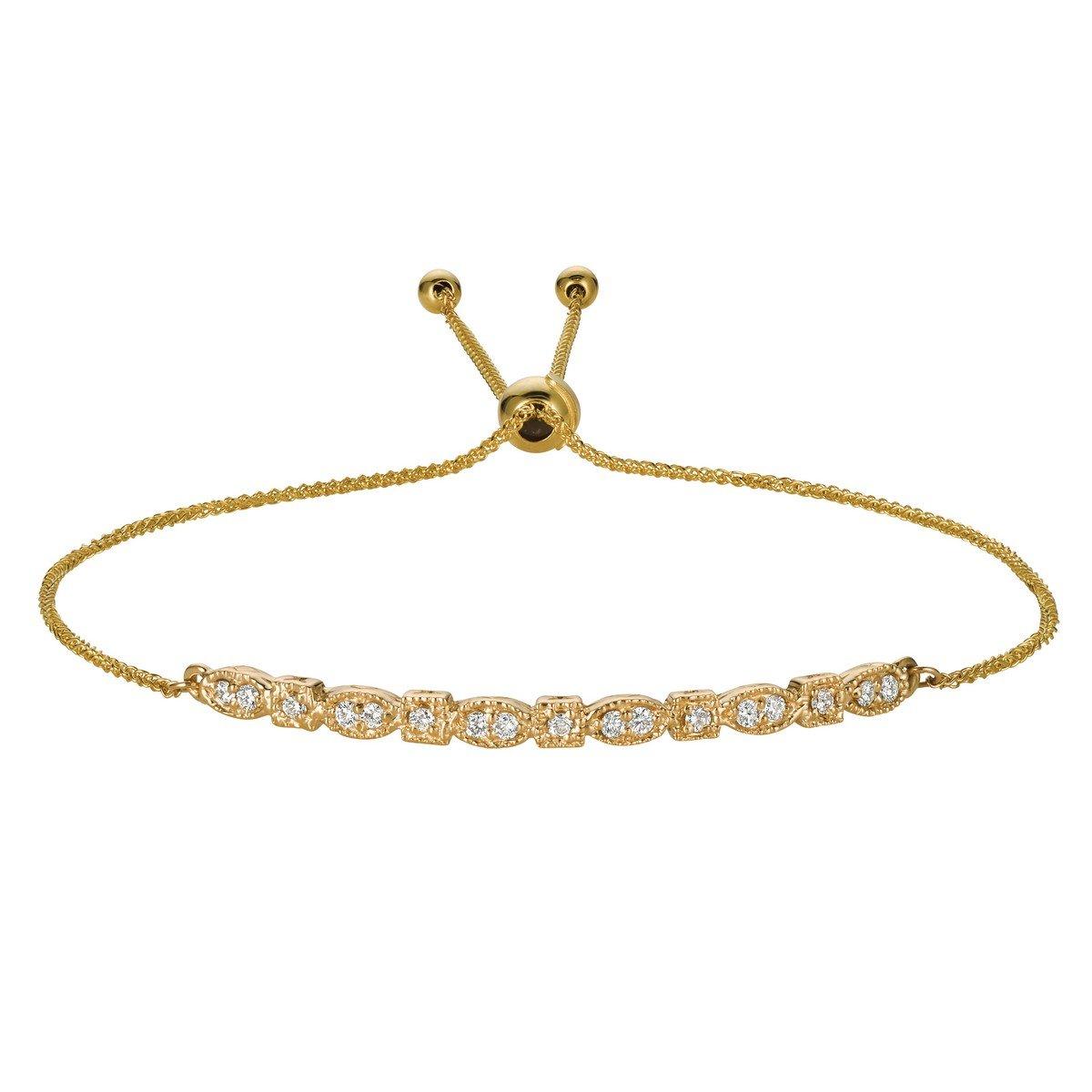 Flexible Bolo Rope Twisted Friendship Diamond Bracelet 14k Yellow Gold (0.26ct)