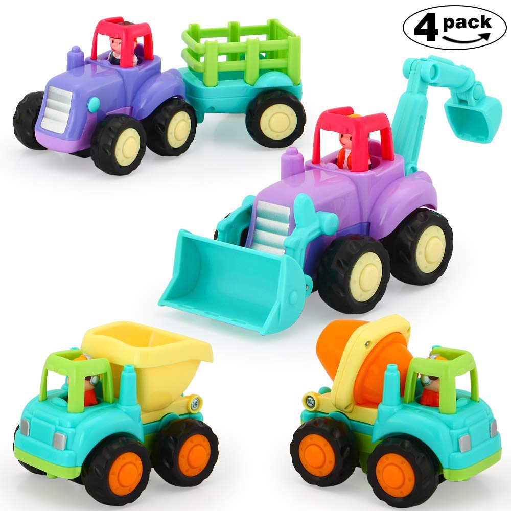 VATOS Baby Friction Powered Cars Toy,4 Pack Push and Go Tractor & Truck Toys for 1 2 3 Years Old Boy & Girl,Construction Vehicles Toys for Toddler,Tractor, Bulldozer, Cement Mixer Truck and Dumper