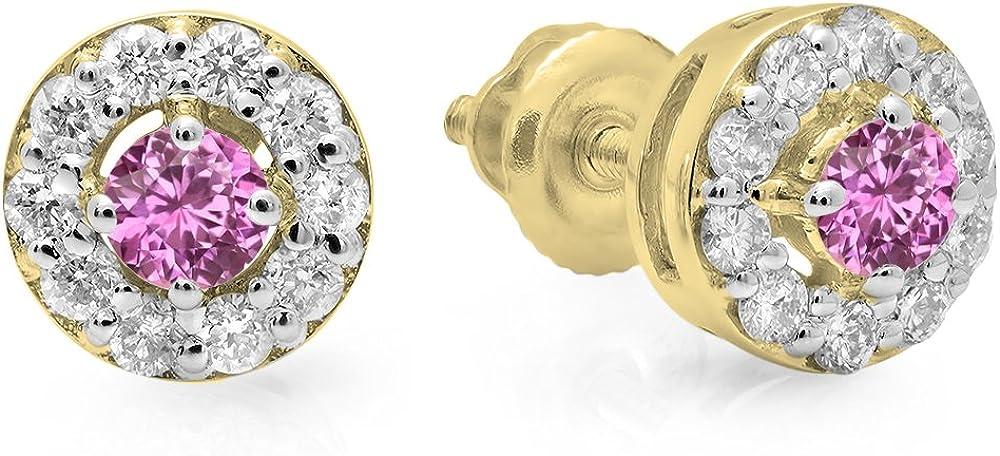 Pendientes de oro amarillo de 10 quilates con piedras preciosas y diamantes para mujer