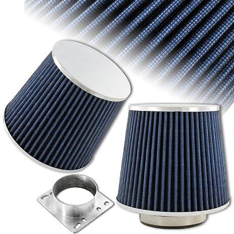 """3 """"soporte de cromo redondo azul malla gasa filtro de entrada de aire +"""