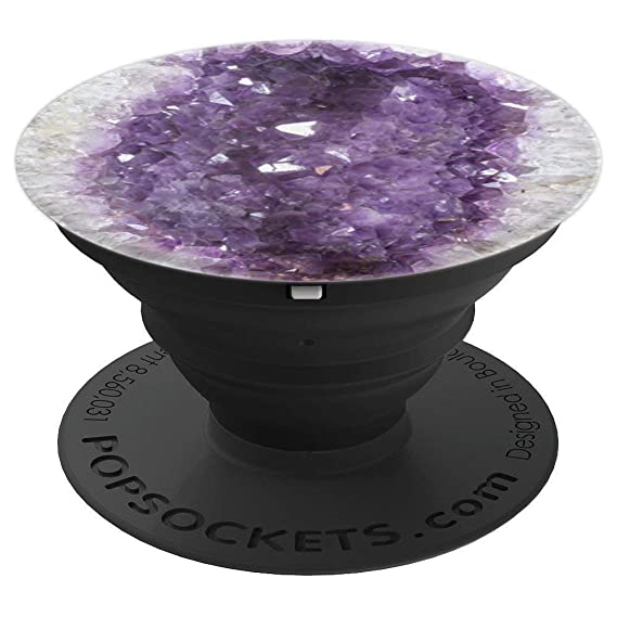Amethyst Geode Crystal Rock Mineral Purple Hue - PopSockets Grip and Stand  for Phones and Tablets