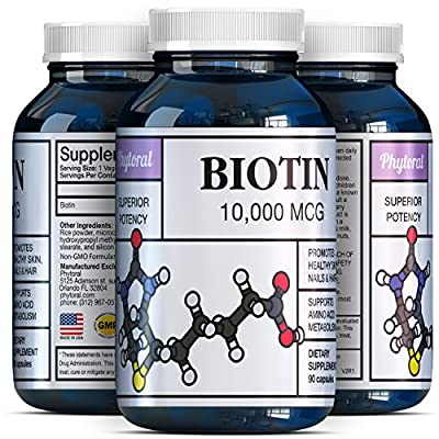 Pure Biotin Supplements - 10000 mcg to Support Hair Growth + Clear Skin + Stronger Nails for Men and Women - Natural and Potent Supplement to Help Fight Hair Loss and Thinning Hair - by Phytoral
