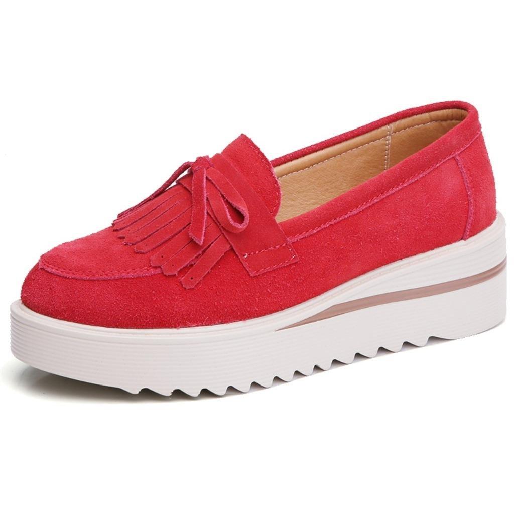TRULAND Women's Suede Leather Slip-on Comfort Wedge Platform Fringe Moccasins (4 D(M) US,Red)
