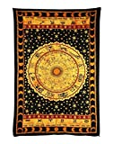 Handicrunch Black Zodiac Horoscope Tapestry, Indian Astrology Hippie Wall Hanging, Ethnic Decorative Art, Celtic Zodiac Tapestry. (85 x 55)