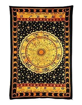 Handicrunch Black Zodiac Horoscope Tapestry, Indian Astrology Hippie Wall Hanging, Ethnic Decorative Art, Celtic Zodiac Tapestry. (85 X 55) 0
