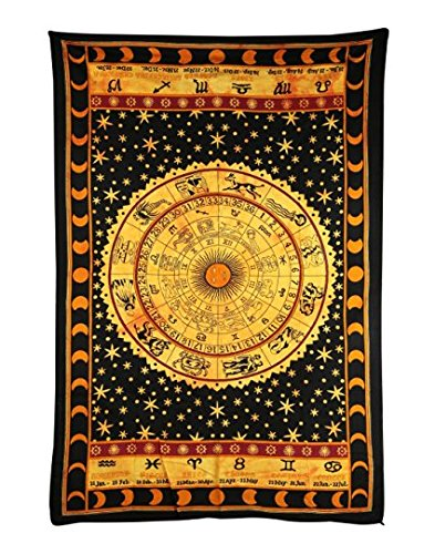 Handicrunch Black Zodiac Horoscope Tapestry, Indian Astrology Hippie Wall Hanging, Ethnic Decorative Art, Celtic Zodiac Tapestry. (85