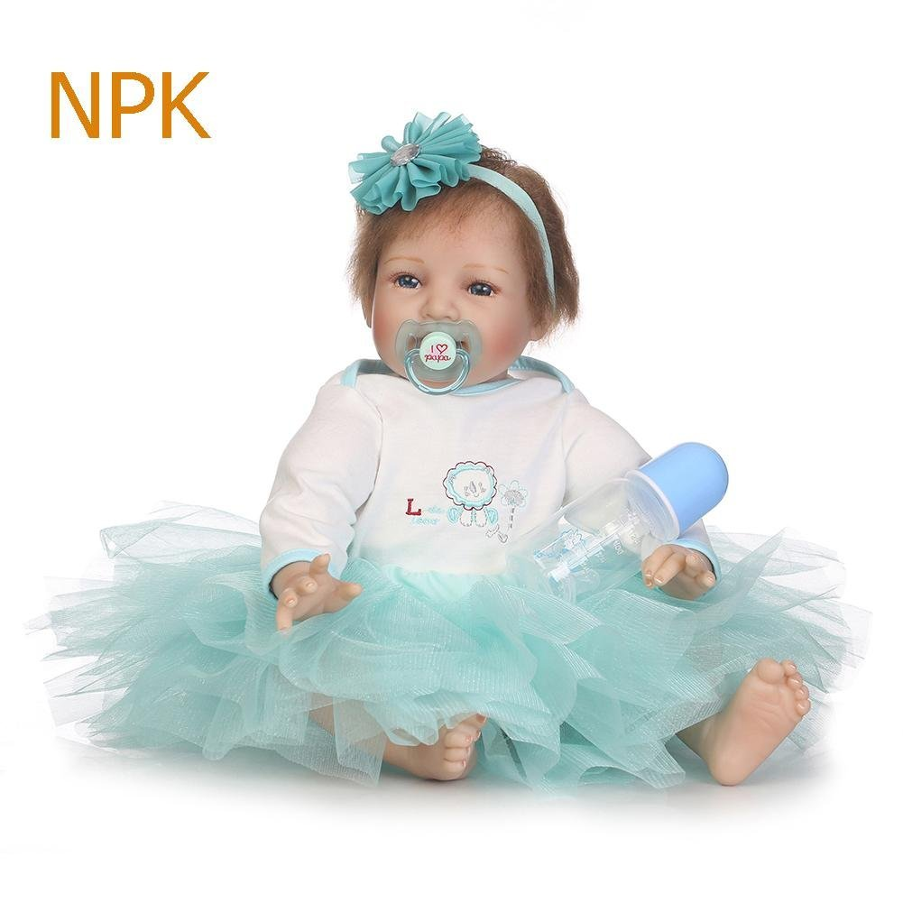 chinatera Little Girls Toy NPK Lovely Realistic Simulation Reborn Doll Soft Silicone Lifelike Artificial Kids Cloth Dolls by chinatera (Image #2)