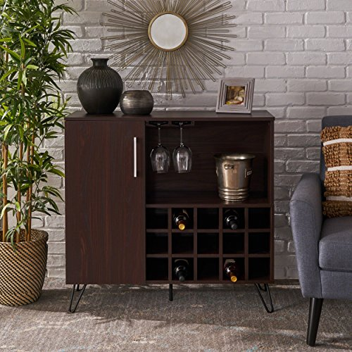 Lochner Mid Century Wenge Finished Faux Wood Wine and Bar Cabinet