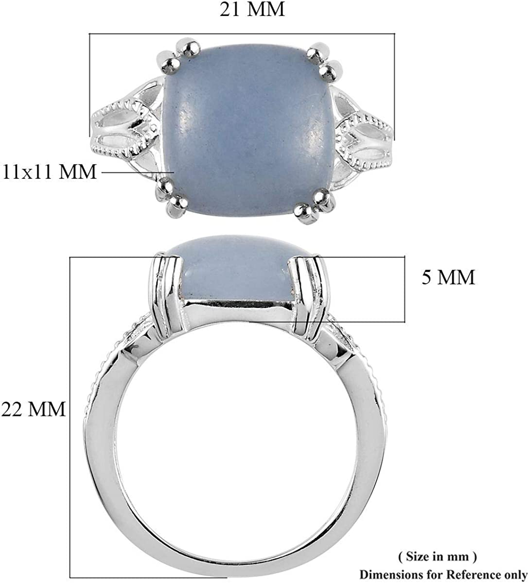 925 Sterling Silver Cushion Angelite Statement Ring Unique Costume Promise Stylish Elegant Fashion Jewelry Gift for Women Size 8