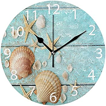 ALAZA Vintage Marine Seashells Round Acrylic Wall Clock, Silent Non Ticking Oil Painting Home Office School Decorative Clock Art