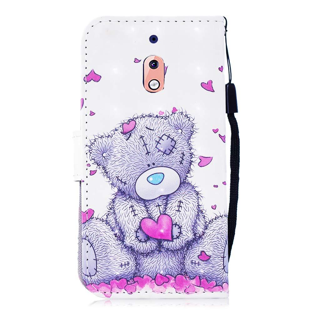 Nokia 2.1 H/ülle Leder,Slynmax Tasche Handyh/ülle Flip Cover Silikon Schutzh/ülle Lederh/ülle Skin St/änder Schale Handytasche Bumper Klappbar Ledertasche Kompatibel mit Nokia 2.1,Ich Liebe Panda