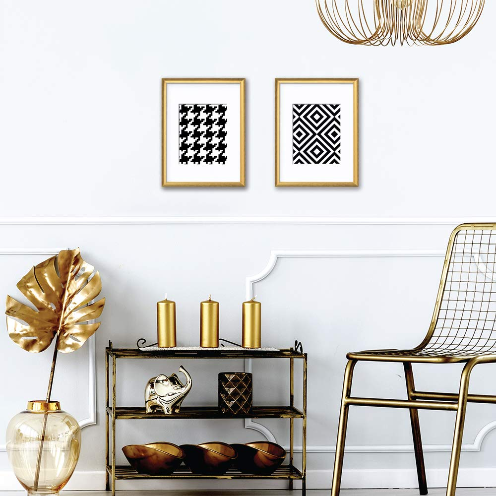 """Wallways 13/"""" X 17/"""" Two Shiny Gold Decorative Accent Frames with Black and White Hounds-Tooth and Geometric Diamond Pattern Print Perfect for Both Traditional and Contemporary Atmosphere"""