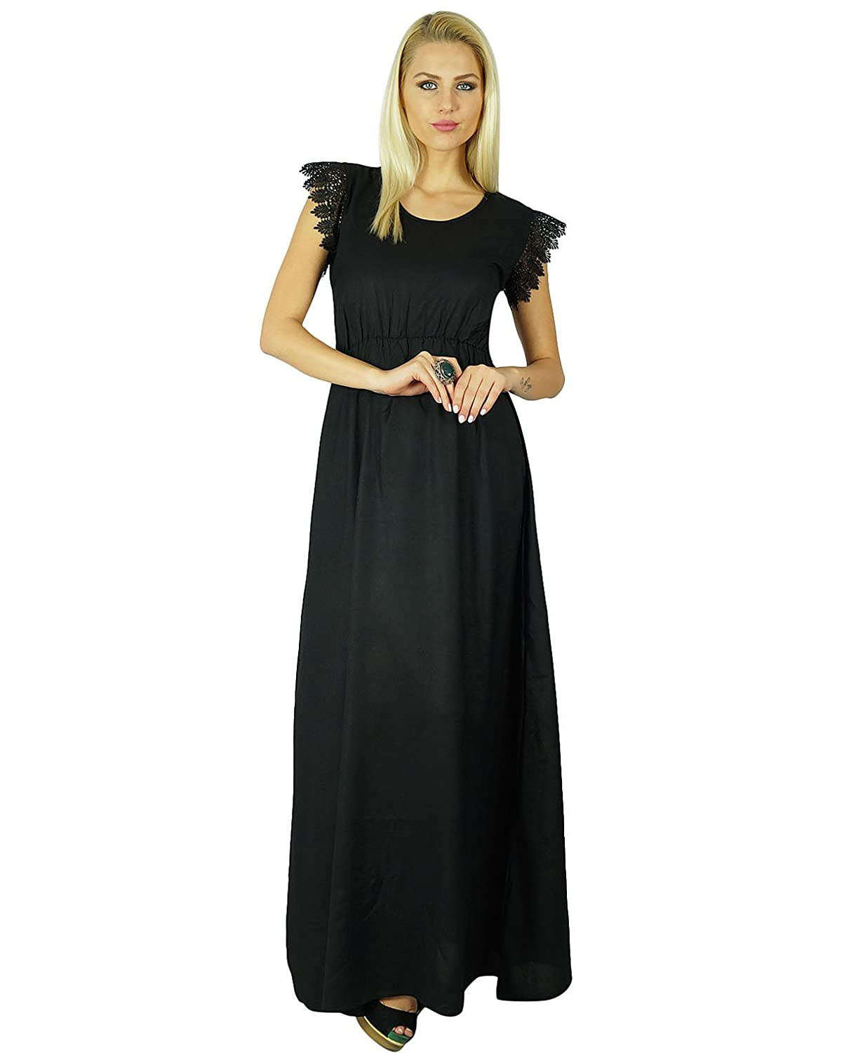 Bimba Women Long Dress Gown Lace Sleeve Chic Casual Maxi Custom Clothing