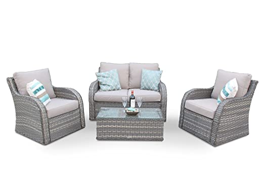 nottingham high back wicker rattan garden sofa patio furniture set - Garden Furniture Nottingham