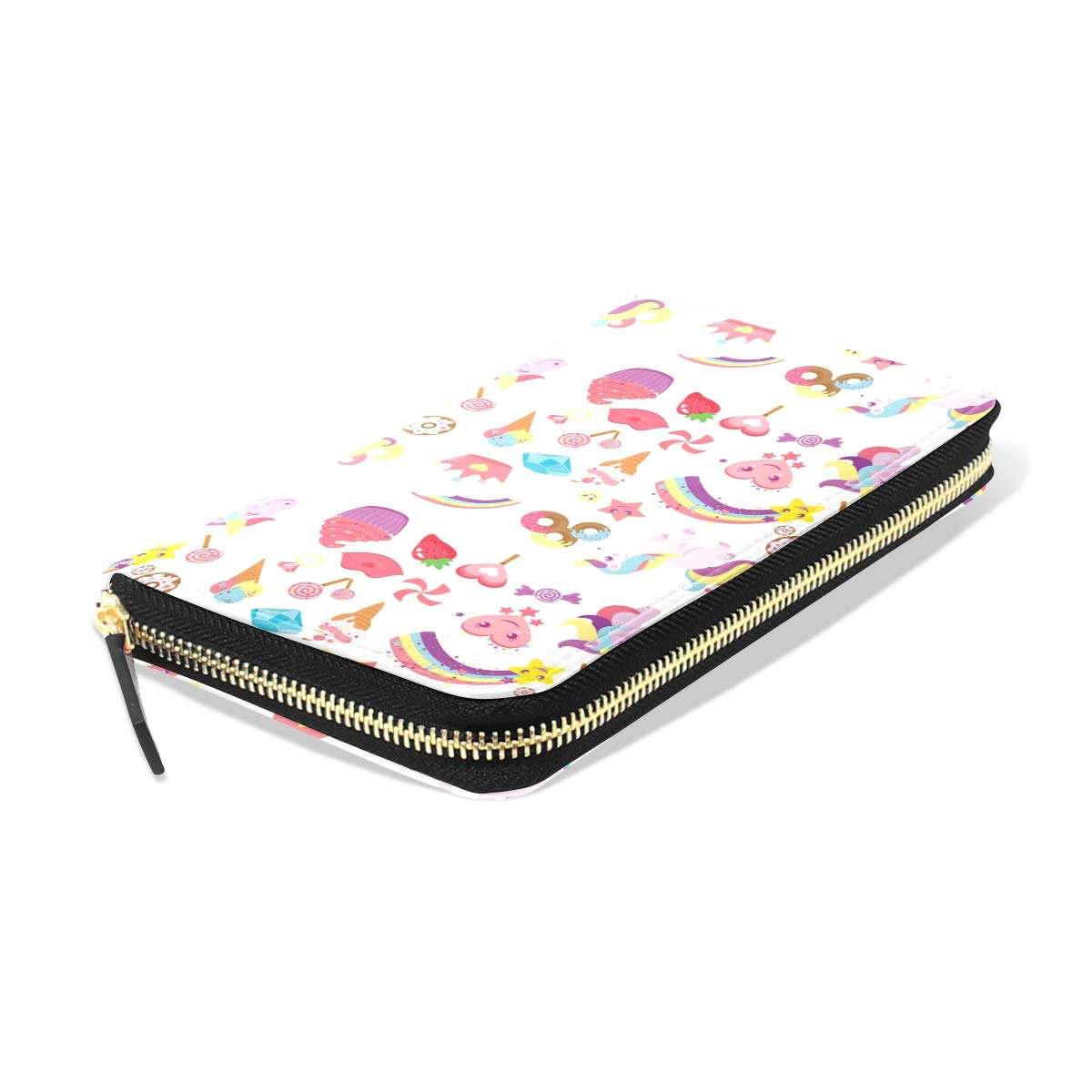 Women LeatherCute Unicorns StarWallet Large Capacity Zipper Travel Wristlet Bags Clutch Cellphone Bag