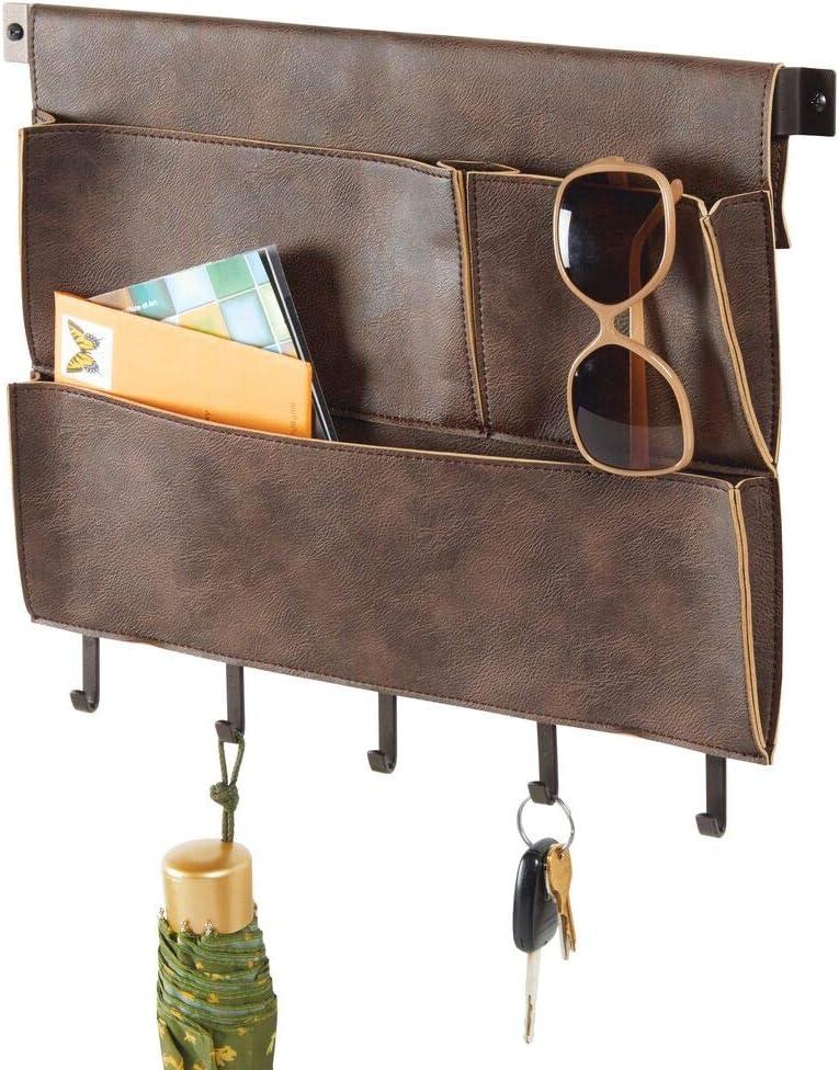 "mDesign Decorative Wall Mount Soft Leather Hanging Storage Organizer - Mail Sorter, Letter Holder, Key Rack - for Entryway, Bedroom, Home Office, Dorm Room - 3 Pockets, 5 Hooks, 17.5"" Wide - Brown"