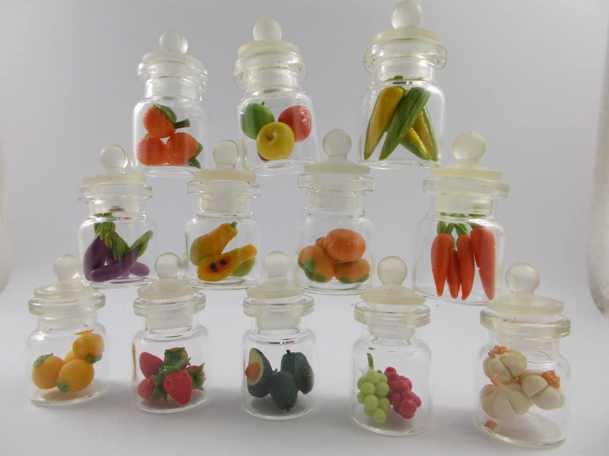Mr_air_thai 12 pc Lot of Miniature Fruit Food Vegetable Dollhouse Fruit in Mini Bottle Fruit Mix Collection