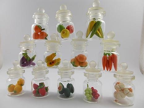 6 Mini Water Jugs Painted Heart Dollhouse Miniatures Ceramic Supply Food