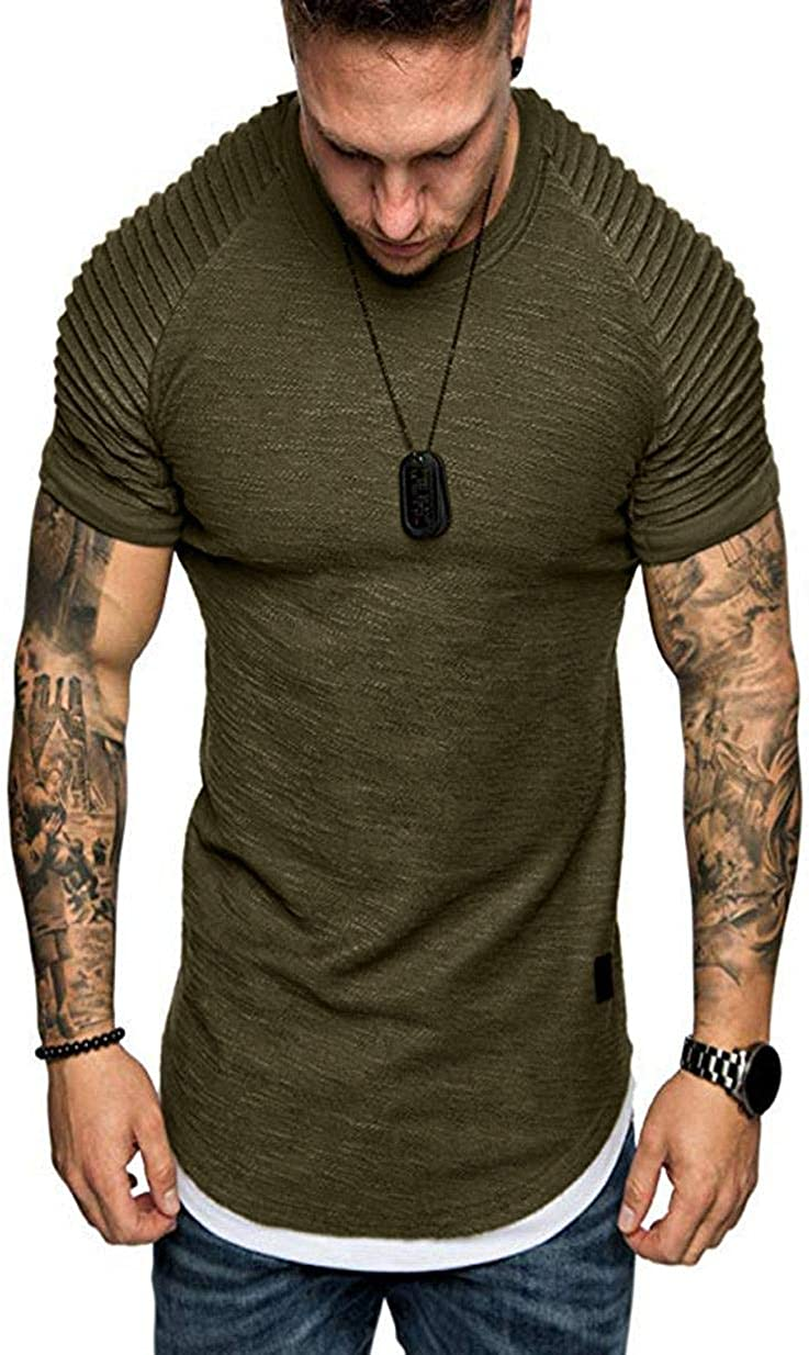 Fold-Wrinkle Short Sleeve Shirts Tops for Men Summer Pure Color Casual Tees Crewneck Slim-Fit Muscle Tank Pullover Tees