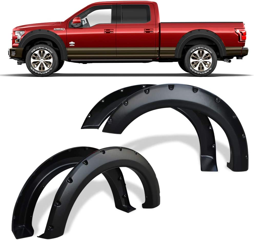 Fender Flares Kit Compatible for 2004-2008 Ford F150 Styleside, 2006-2008 Lincoln Mark LT, Dura-Flex Material Textured Matte Black Finish Front Rear Wheels Pocket Rivet Style