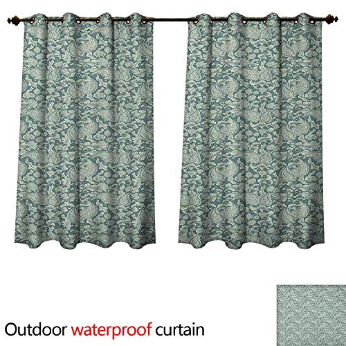 Damask Outdoor Curtain for Patio Victorian Inspired Floral Arrangement Vintage Plant Design Soft Color Palette W63 x L63(160cm x -