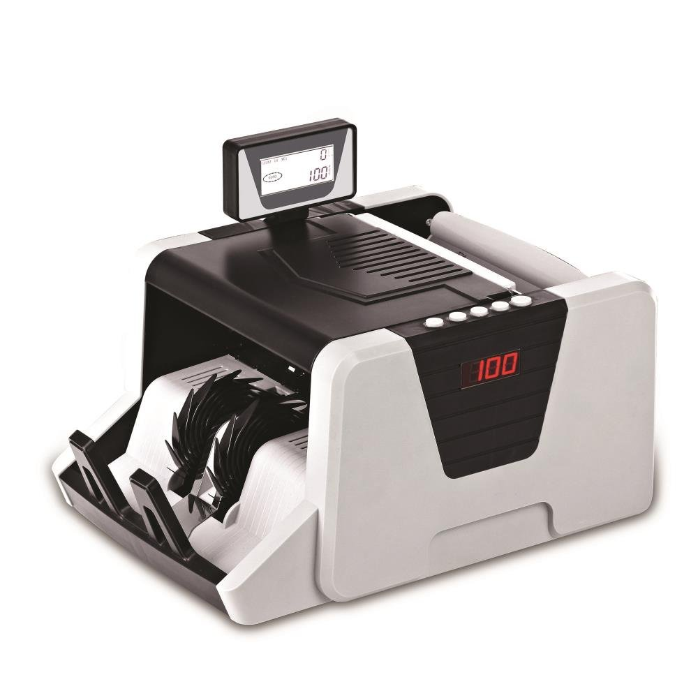 Upgraded Premium Pyle Bill Counter, Cash, Automatic Counting Machine, Toploader, UV & MG Counterfeit Detection, UV Scanning, LCD Display, 1100 Pieces Per Min, (PRMC550)