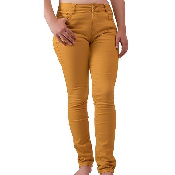 Primtex Jean Femme Jaune Moutarde Coupe Slim Taille Haute Stretch-  Amazon. fr  Vêtements et accessoires d9094bf6139