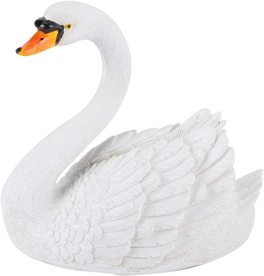 Figura de Cisne Blanco Realista para decoración de jardinería de Patio de Paisaje, Estatua de Cisne de simulación de Resina, Adorno Flotante para Piscina/Estanque