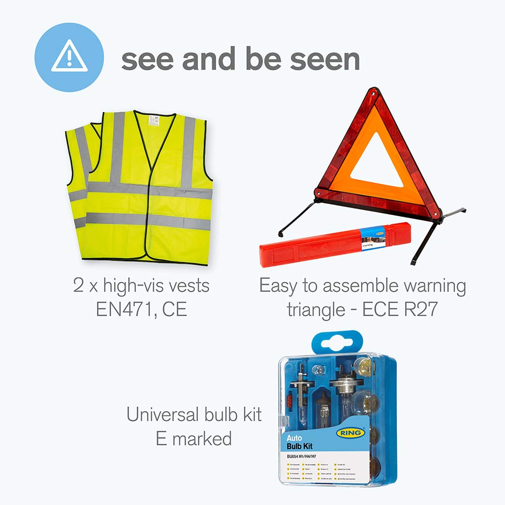 Beam Reflectors Foil Blanket with Warning Triangle First Aid Kit Ring RCT1 10 Piece European Travel Kit NF Breathalysers 2 High Vis Vests GB Sticker and Storage Case Bulb Kit