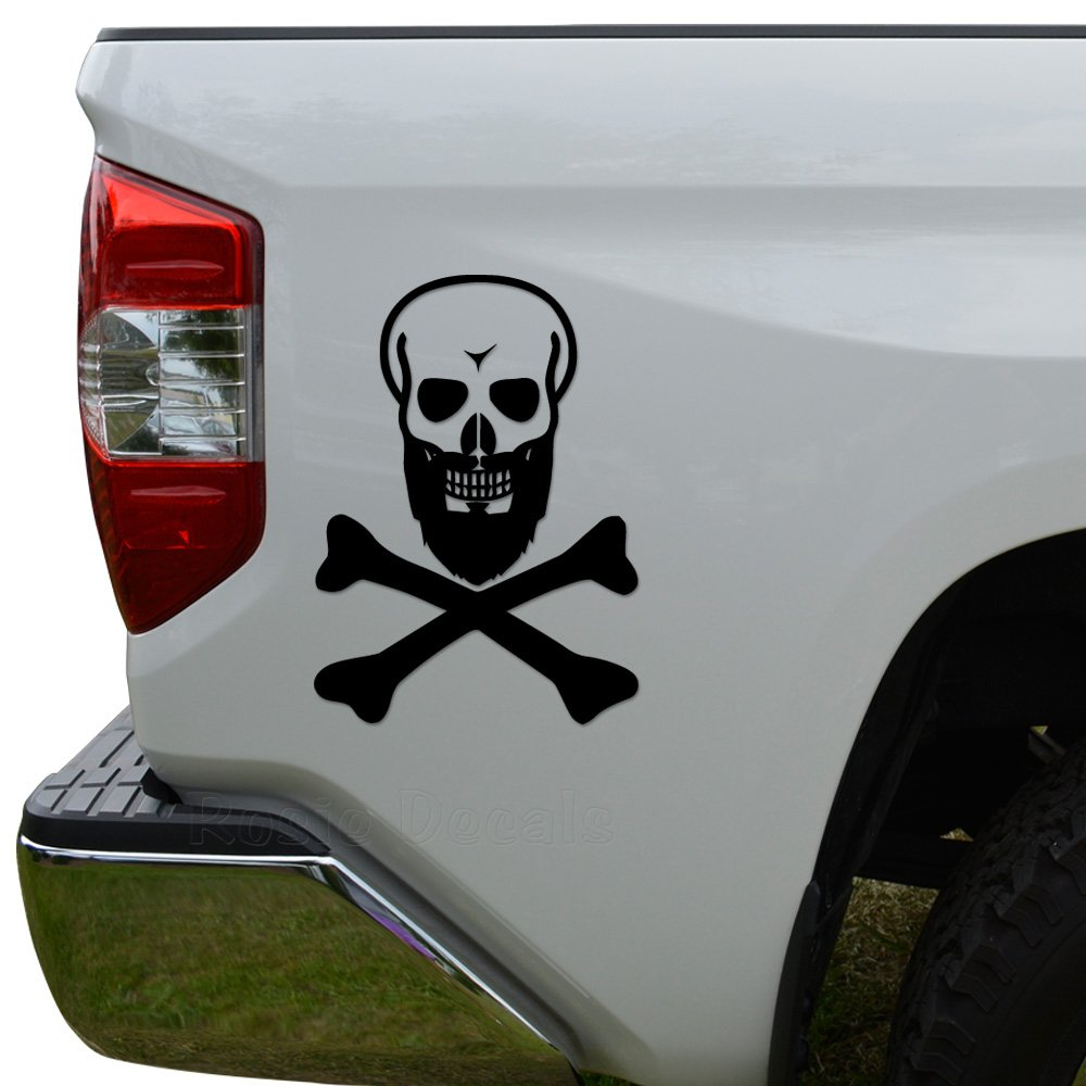 Death skull crossbones black beard pirate die cut vinyl decal sticker for car truck motorcycle window bumper wall decor size 8 inch 20 cm tall color