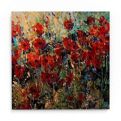Trademark Fine Art Red Poppy Field Ii by Tim Otoole, White Metal Art 16x16, Multi-Color