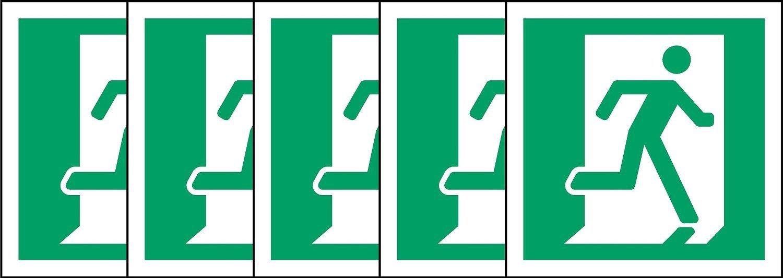 /étiquette de s/écurit/é ISO Sign/ /Sortie de secours lot de 5/stickers Symbole/ /Self Autocollant 200/mm x 200/mm droite