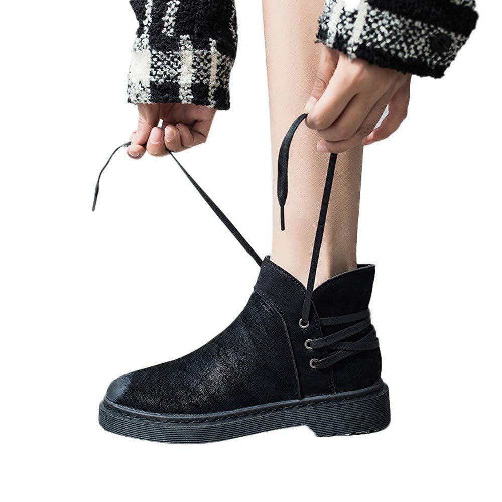 Fuxitoggo Damas de piel sintética Grip Sole Invierno cálido tobillo Botas para mujer Zapatillas de deporte, Zapatos retro de tacón bajo para mujeres Punta ...